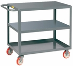 Welded Service Cart With 3 Flush Shelves - 18''W x 32''D [3LG-1832-BRK-LGC]