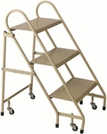 3 Step Steel Folding Ladder - Beige [1130-19-FS-CRA]