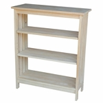 Mission 3 Tier Solid Parawood 30''W X 36''H Shelf Unit - Unfinished [SH-3630M-FS-WHT]