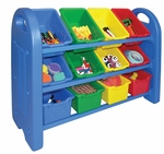 3-Tier Storage Organizer with Built-in Handles and 12 Primary Colors Scoop-Front Bins [ELR-0216-ECR]