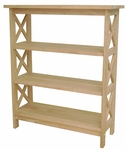 X-Sided 3 Tier Solid Parawood 30''W X 36''H Shelf Unit - Unfinished [SH-3630X-FS-WHT]