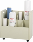 30.25'' W x 15.75'' D x 29.25'' H Eight Compartment Mobile Roll File - Putty [3045-FS-SAF]