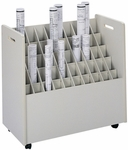 30.25'' W x 15.75'' D x 29.25'' H Fifty Compartment Mobile Roll File - Putty [3083-FS-SAF]