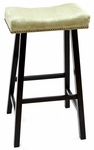 Valencia Wood 30''H Backless Stool with Apple Green Upholstered Seat - Black [683-37-AG-FS-CCTCO]