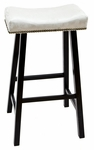 Valencia Wood 30''H Backless Stool with Chamois Upholstered Seat - Black [683-37-CH-FS-CCTCO]