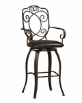 Crested Back 30''H Swivel Bar Stool [02787MTL-01-KD-U-FS-LIN]