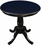 Butcher Block Solid Wood 30'' Diameter Pedestal Dining Table - Black [K46-30RT-FS-WHT]