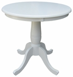 Butcher Block Solid Wood 30'' Diameter Pedestal Dining Table - Linen White [K31-30RT-FS-WHT]