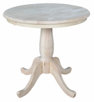 Butcher Block Top Solid Wood 30'' Diameter Pedestal Dining Table - Unfinished [K-30RT-FS-WHT]
