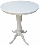 Solid Wood 3 In 1 Convertible 30'' Diameter Pedestal Dining Table - Linen White [K31-30RT-6B-2-FS-WHT]