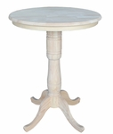 Butcher Block Solid Wood 30'' Diameter Pedestal Dining Table with 2 Base Extension - Unfinished [K-30RT-6B-2-FS-WHT]