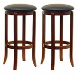 30''H Faux Leather Swivel Stool-Set of 2 [94631-FS-WWT]