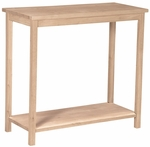 Portman Solid Parawood 31''W X 30''H Accent Table with Display Storage Shelf - Unfinished [OT-43-FS-WHT]
