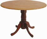 Solid Wood 42'' Diameter Round Dual Drop Leaf Pedestal Dining Table - Cinnamon [T58-42DP-FS-WHT]