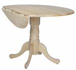 Solid Wood 30'' Diameter Round Pedestal Table With 9'' Dual Drop Leaves- Natural [T01-42DP-FS-WHT]