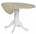 Solid Wood 42'' Diameter Round Pedestal Dining Table with 9'' Dual Drop Leaves - White [T02-42DP-FS-WHT]
