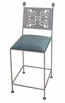Leaves 30'' Wrought Iron Barstool with Upholstered Seat [GMC-3030-LEAVES-FS-GCM]