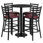 30'' Round Black Laminate Table Set with Ladder Back Metal Bar Stool and Burgundy Vinyl Seat,Seats 4 [REST-017-BG-BK-FS-TDR]