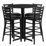 30'' Round Black Laminate Table Set with Ladder Back Metal Barstool and Black Vinyl Seat, Seats 4 [REST-006-BK-BK-FS-TDR]
