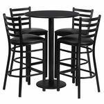 30'' Round Black Laminate Table Set with Ladder Back Metal Barstool and Black Vinyl Seat, Seats 4 [REST-016-BK-BK-FS-TDR]