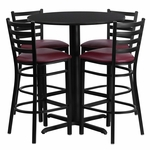 30'' Round Black Laminate Table Set with Ladder Back Metal Barstool and Burgundy Vinyl Seat,Seats 4 [REST-007-BG-BK-FS-TDR]