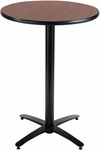 30'' Round Laminate Bistro Height Pedestal Table with Dark Mahogany Top - Black Arch Base [T30RD-B2115-38-MH-IFK]