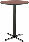 30'' Round Laminate Bistro Height Pedestal Table with Dark Mahogany Top - Black X-Base [T30RD-B2015-38-MH-IFK]