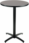 30'' Round Laminate Bistro Height Pedestal Table with Graphite Nebula Top - Black Arch Base [T30RD-B2115-38-GPN-IFK]