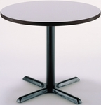 30'' Round Laminate Pedestal Table with Grey Nebula Top - Black X-Base [T30RD-B2015-IFK]