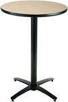 30'' Round Laminate Bistro Height Pedestal Table with Natural Top - Black Arch Base [T30RD-B2115-38-NA-IFK]