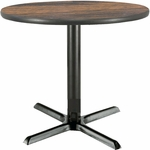 30'' Round Laminate Pedestal Table with Walnut Top - Black X-Base [T30RD-B2015-WL-IFK]