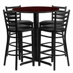 30'' Round Mahogany Laminate Table Set with Ladder Back Metal Barstool and Black Vinyl Seat,Seats 4 [REST-006-BK-MAH-FS-TDR]