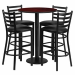 30'' Round Mahogany Laminate Table Set with Ladder Back Metal Barstool and Black Vinyl Seat,Seats 4 [REST-016-BK-MAH-FS-TDR]
