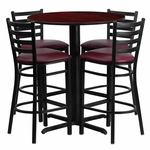 30'' Round Mahogany Laminate Table Set with Ladder Back Metal Barstool and Burgundy Vinyl Seat,Seats 4 [REST-007-BG-MAH-FS-TDR]