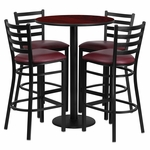 30'' Round Mahogany Laminate Table Set with Ladder Back Metal Barstool and Burgundy Vinyl Seat, Seats 4 [REST-017-BG-MAH-FS-TDR]