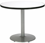 30'' Round Laminate Pedestal Table with Crisp Linen Top - Silver Round Base [T30RD-B1917-SL-CL-IFK]