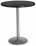 30'' Round Pedestal Table with Graphite Nebula Top - Round Silver Base - Bar Height [T30RD-B1917-SL-GRN-38-IFK]