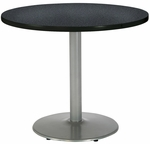 30'' Round Laminate Pedestal Table with Graphite Nebula Top - Silver Round Base [T30RD-B1917-SL-GRN-IFK]
