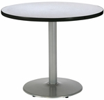 30'' Round Laminate Pedestal Table with Grey Nebula Top - Silver Round Base [T30RD-B1917-SL-GYN-IFK]