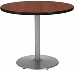 30'' Round Laminate Pedestal Table with Mahogany Top - Silver Round Base [T30RD-B1917-SL-MH-IFK]