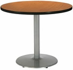 30'' Round Pedestal Table with Medium Oak Top - Round Silver Base [T30RD-B1917-SL-MO-IFK]