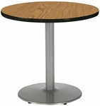 30'' Round Laminate Pedestal Table with Medium Oak Top - Silver Round Base [T30RD-B1917-SL-MO-IFK]