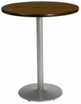 30'' Round Pedestal Table with Walnut Top - Round Silver Base - Bar Height [T30RD-B1917-SL-WL-38-IFK]