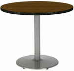 30'' Round Pedestal Table with Walnut Top - Round Silver Base [T30RD-B1917-SL-WL-IFK]