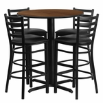 30'' Round Walnut Laminate Table Set with Ladder Back Metal Barstool and Black Vinyl Seat,Seats 4 [REST-006-BK-WAL-FS-TDR]