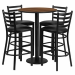 30'' Round Walnut Laminate Table Set with Ladder Back Metal Barstool and Black Vinyl Seat,Seats 4 [REST-016-BK-WAL-FS-TDR]