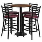 30'' Round Walnut Laminate Table Set with Ladder Back Metal Barstool and Burgundy Vinyl Seat,Seats 4 [REST-017-BG-WAL-FS-TDR]