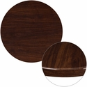 30'' Round High-Gloss Walnut Resin Table Top with 2'' Thick Edge