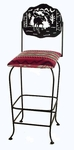 Wildlife Silhouette 30'' Wrought Iron Swivel Barstool with Upholstered Seat [GMC-SW130-SML-FS-GCM]