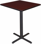 Cain 30'' Square Laminate Cafe Table with PVC Edge - Mahogany [TCB3030MH-FS-REG]